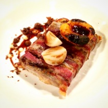 The Signature dish - Lamb press, pancetta, mustard fruits, grilled apricot, onion textures
