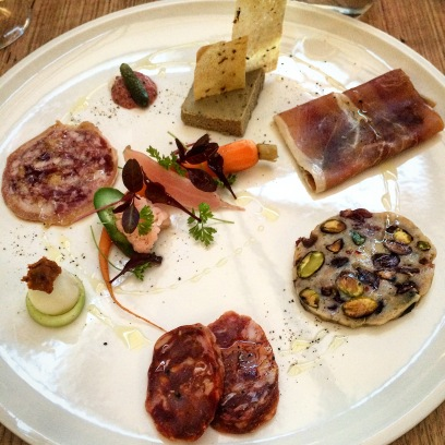 The excellent charcuterie plate