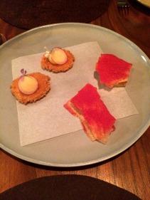 Parmesan biscuit, Potato wafers with raspberry powder