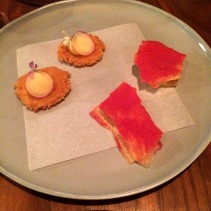 Parmesan biscuit, Potato wafers with raspberry powder