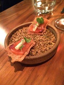Salmon on sourdough crisp