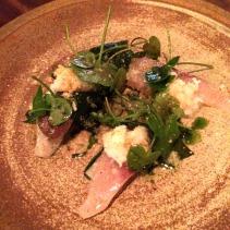 Kingfish ceviche, spanner crab, celeriac, toasted hazelnut, horseradish