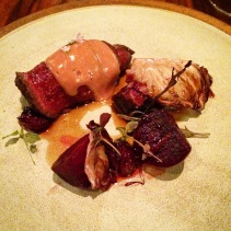 One of the best dishes I've ever had: Waguy rib, fermented cherries, beetroot, radicchio, red wine hollandaise from Aubergine, Canberra