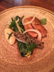 Glazed pork belly, morcilla croquette, fennel, silverbeet and mustard