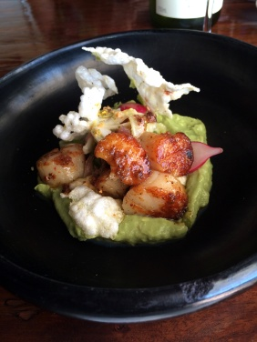 XO seared scallops with avocado puree, pickled fennel and radish salad, miso foam, nori and mojama kurakka