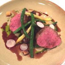 Grass fed beef striploin, glazed cheek, summer beans, salsa verde