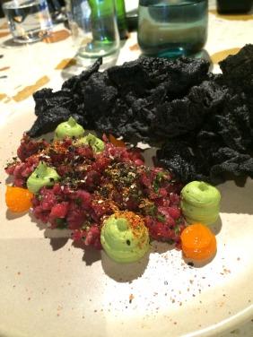 Boxgum Grazing beef tartare, miso cured egg yolk, avocado, horseradish, crisp black rice