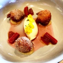 Apple Zeppole - rhubarb and rosewater soup with mascarpone