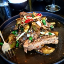 Free range pork ribs with lemongrass, kaffir lime, chilli, eggplant and green beans - from my favourite Thai restaurant in Adelaide - Sukhumvit Soi 38, Adelaide