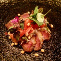 Kamo - tea smoked duck, Fuji apple and ginger dressing, bubo arare, seri pickled radish