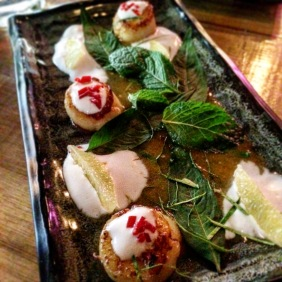Scallops with lime, coconut cream, mint and tangy sauce