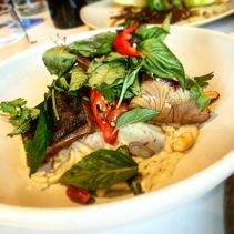 Seared Kingfish with lime leaf and thai basil, roasted peanuts, fragrant potato