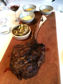 Caab Tomahawk Steak - for 2 to share with trio of mustards, charred courgettes and red onions