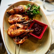 Charred SA gulf prawns skewers with peri peri basting
