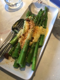 Green asparagus, parma ham crumbs, hollandaise