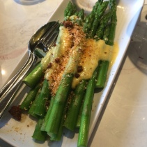 Green asparagus, parma ham crumbs, hollandaise