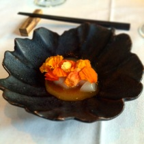 Hotate – Scallop, kirenka petals, finger lime, fish crackling, yolk sauce