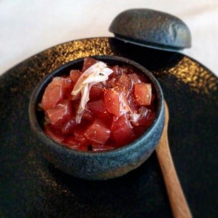 Tekkadon – Yellowfin tuna, hishiyo raw soy, sesame, myoga