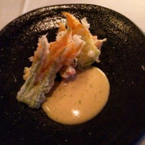 Uchiwa Ebi – Bug tail, tempura zucchini blossom, coral sauce, lime