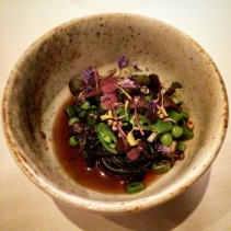 Soba – Charcoal soba noodles, legumes, kinoko, mushroom tea, kinrenka leaves