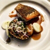 Barramundi, charred eggplant, miso, garlic chives, apple, dried squid