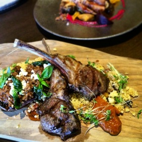 Lamb Cutlets with striped eggplant, lamb mince, couscous, black miso and mango chutney
