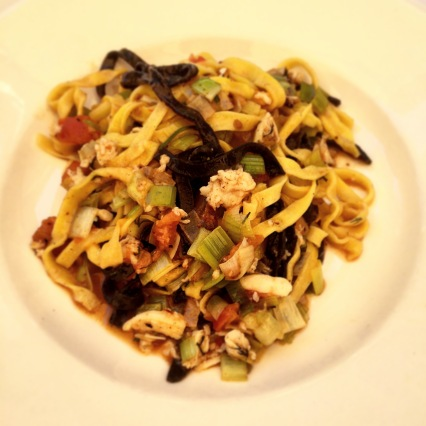 Due Linguini Aromatizzati con Gamberi - squid ink & saffron flavoured pasta with lobster, leeks, dill & fresh roma tomato