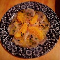 Aperol cured kingfish, orange, juniper oil, lemon thyme
