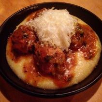 Nonna's meatballs, soft polenta, parmigiano