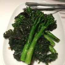 Charred broccolini and kale with shallot mustard dressing