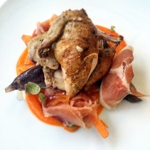 Heirloom carrots, five spiced quail, jamon, ginger caramel from Bridgewater Mill, SA