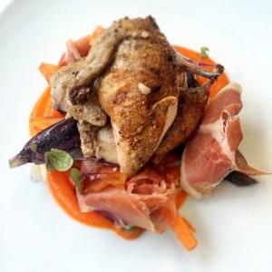 Heirloom carrots, five spiced quail, jamon, ginger caramel