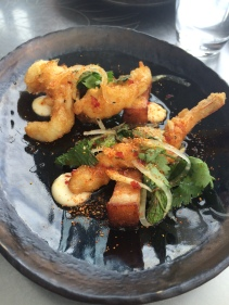 Tempura prawn, pork belly with green mango, chilli mint dressing