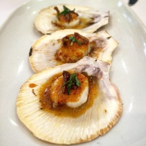 Spiced scallops with shallots and herbs