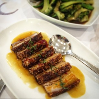 Pork belly with ginger orange sauce