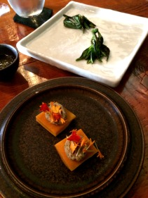 Warrigal greens with vinaigrette powder and lightly pickled pumpkin skins with nut cheese and marigold