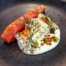 Cured ocean trout with buttermilk, kohlrabi, anise oil, bronze fennel pollen and vegetable ash from Botanic Gardens Restaurant, Adelaide