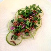 Hiramasa kingfish crudo, avocado, compressed apple, native ginger, miso, wild rice and sea parsley