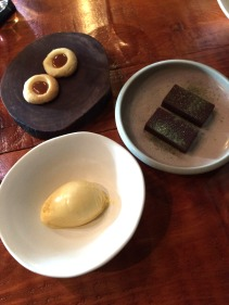 Smoked pumpkin skin icecream, Cookies and milk, House made chocolate, powder