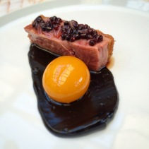 Dry aged duck dressed with blackberries and elderflower vinegar from Lume, South Melbourne