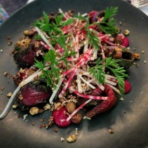 Paroo kangaroo pastrami, muntries, candy cane beetroots, air dried venison and walnuts