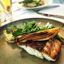 Barramundi, prawn boudin, caramelised fennel, smoked beans, sea vegetables with boullabaisse dressing