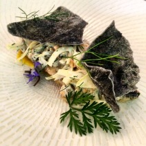 Smoked Tommy Ruff escabeche, mussel custard, smoked mussels, fennel and squid ink cracker