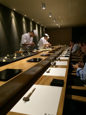 The chefs at work at the sushi bar