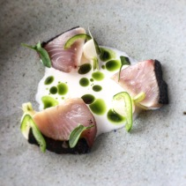 Bonito, macadamia milk, parsley oil, Japanese turnip, jalapeno from Lumi Bar and Dining