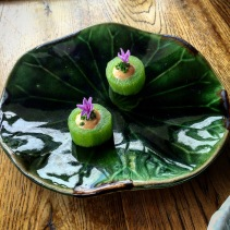 Cucumber, brown butter and mustard emulsion