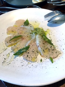 Kingfish crudo, green olive, curry leaf