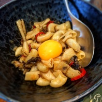 Macaroni, pigs head, egg yolk