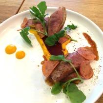 Duck breast with Szechuan pepper, pumpkin, radish and tamarind