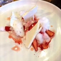 Strawberry parfait, consommé, lime cloud, balsamic meringue